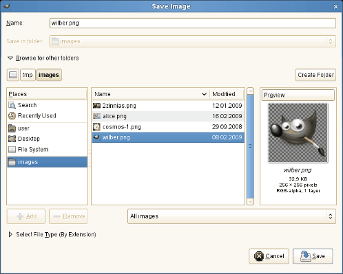 Figure 15 13 the save image dialog browser