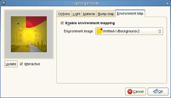 "image map coordinates gimp. ""Lighting"" filter options (Environment Map)"