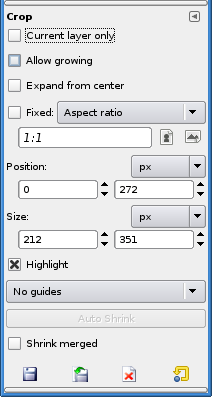 "Crop Tool ""Tool Options"" dialog"