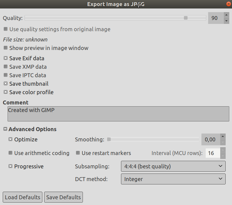 The JPEG Export Dialog