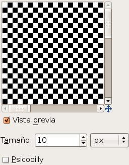 Opciones para el filtroTablero de ajedrez