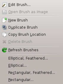 The Brushes context menu