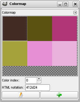 An indexed image with 6 colors and its Colormap dialog