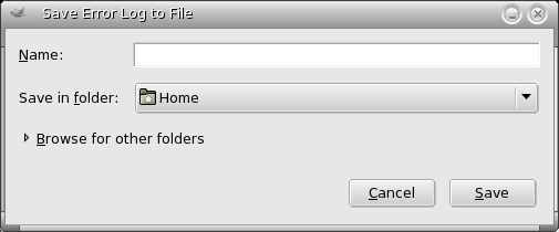 Save Error Log to file Dialog window