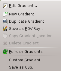 The Gradients Menu