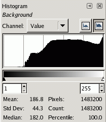 The histogram shown at the top, changed to logarithmic mode.