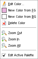 The Palette Editor pop-menu