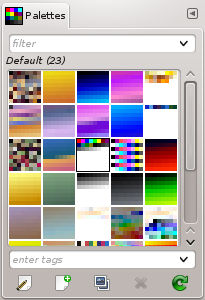 The Palettes dialog