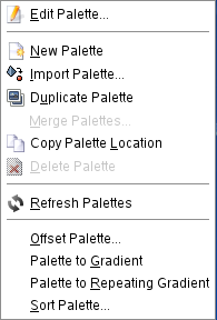 The Palettes pop-menu