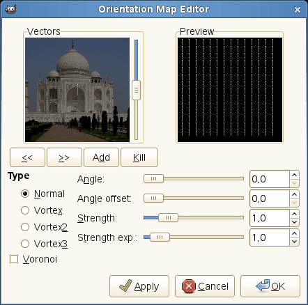 Options of the Orientation-map Editor dialog
