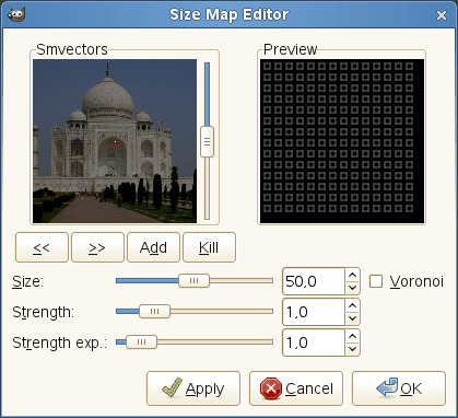 Size-map editor options
