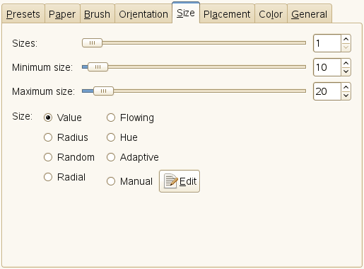Size tab options