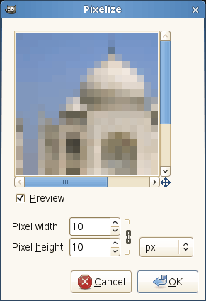 Pixelize filter options