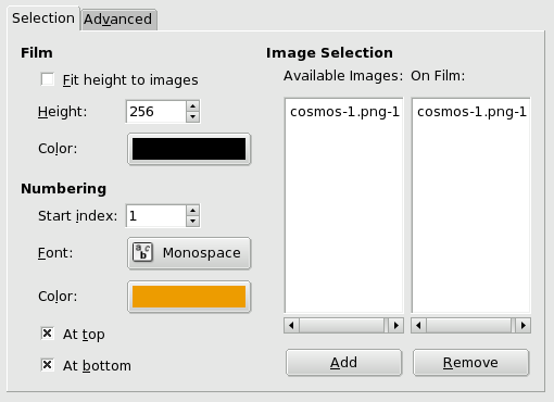Film filter options (Selection)