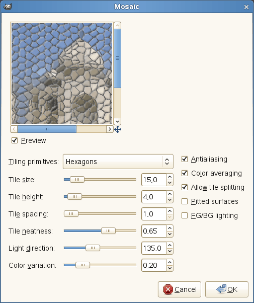 Mosaic filter options