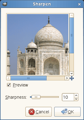 Sharpen filter options