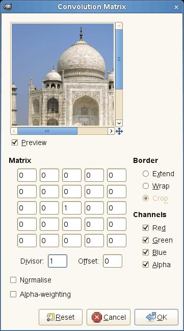 Convolution matrix options