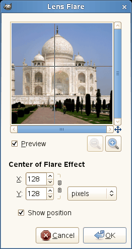 Lens Flare filter options