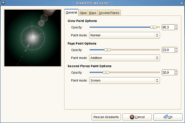 Gradient Flare Editor options (General)
