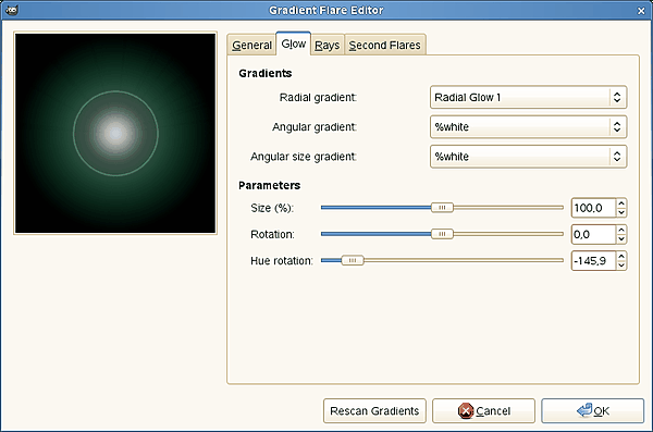 Gradient Flare Editor options (Glow)
