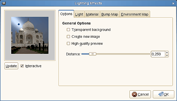 Lighting filter options
