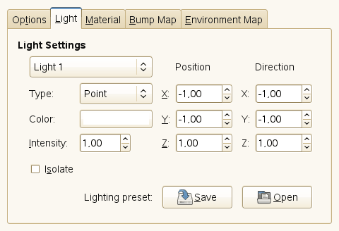 Lighting filter options (Light Settings)