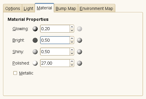 Lighting filter options (Material Properties)