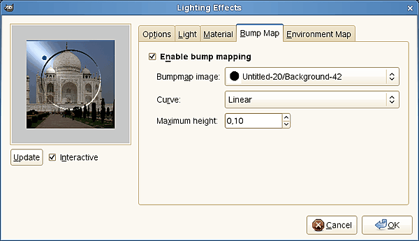 Lighting filter options (Bump Map)