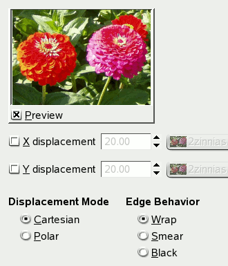 Displace filter options