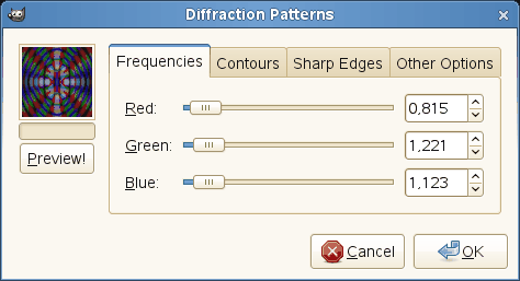 Diffraction Patterns filter options