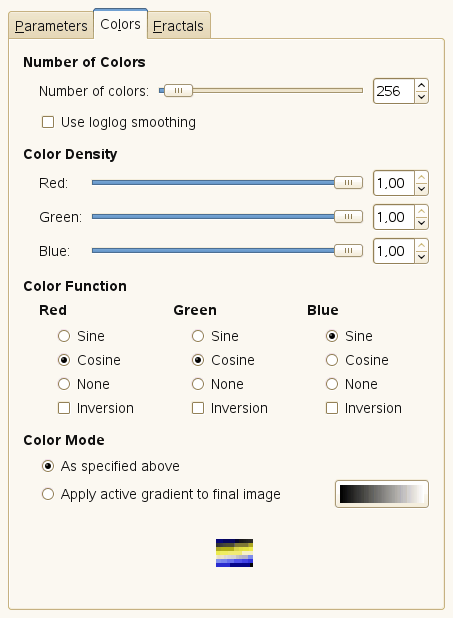 Fractal Explorer filter options (Colors)