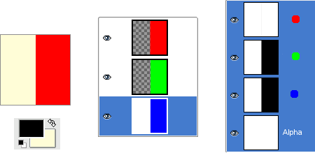 Alpha channel example: Three transparent layers