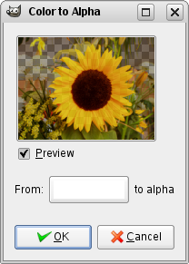 Color to Alpha command options