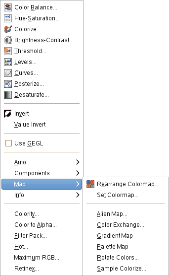 The Map submenu