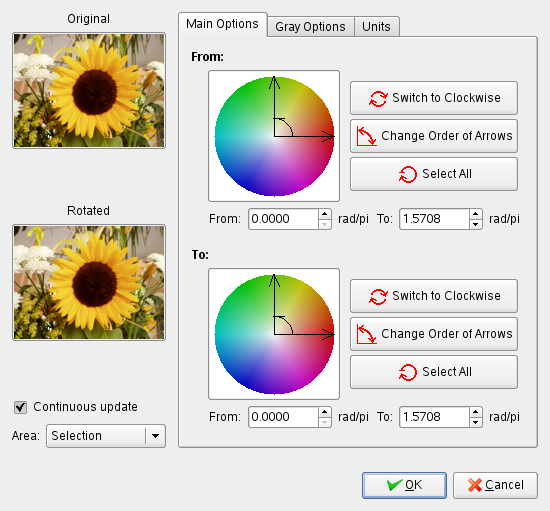 Main Options of the Color Map Rotation filter