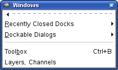 The windows submenu and its tear-off submenu