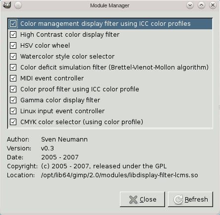 The Module Manager dialog window
