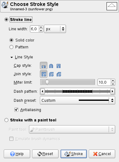 "The ""Choose Stroke Style"" dialog window"
