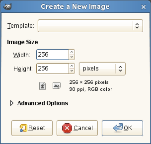 The Create a New Image dialog