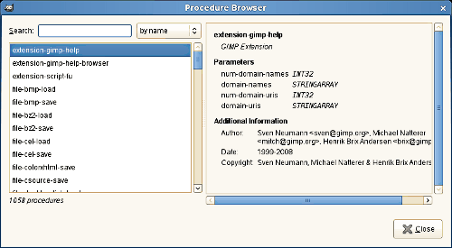 The Procedure Browser dialog window