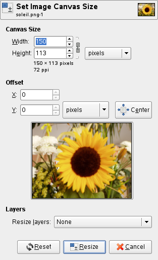The Set Image Canvas Size dialog