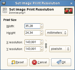 The Set Image Print Resolution dialog