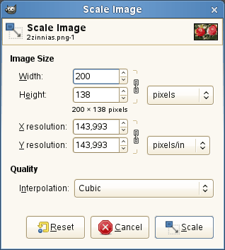 The Scale Image dialog