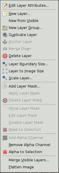 The Contents of the Layer local pop-menu