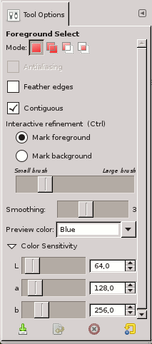 Foreground Select tool options
