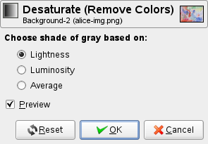 The Desaturate option dialog