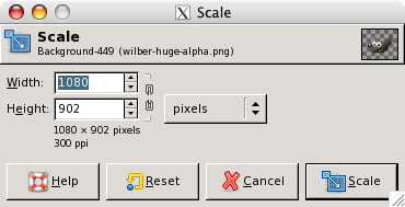The Scaling Information dialog window
