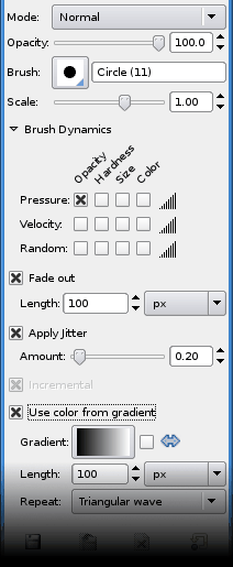 Tool options shared by paint tools