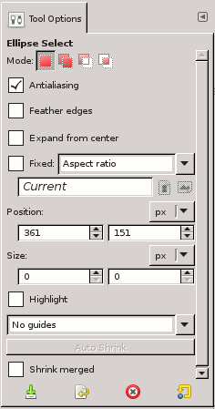 Tool Options for the Ellipse Select tool