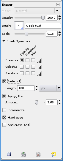 Tool Options for the Eraser tool